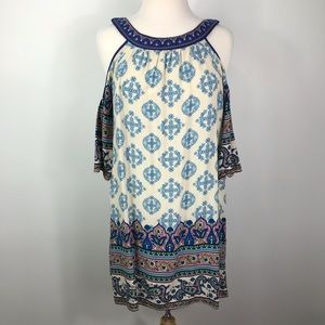 Flying Tomato cold shoulder paisley dress, size Sm